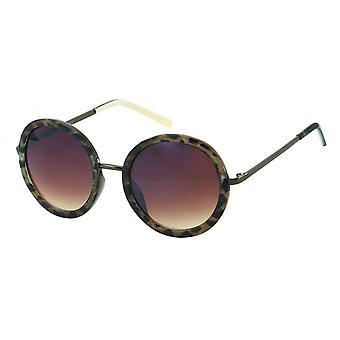 Sunglasses Women's round tortie glittering brown (PZ20-064)