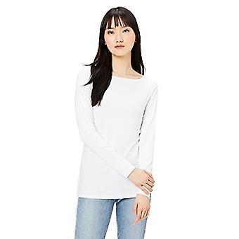 Brand - Daily Ritual Women's Jersey Long-Sleeve Bateau-Neck T-Shirt, White, Medium