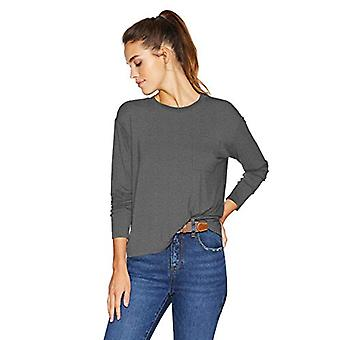 Brand - Daily Ritual Women's Jersey Long-Sleeve Boxy Pocket Tee, Charc...