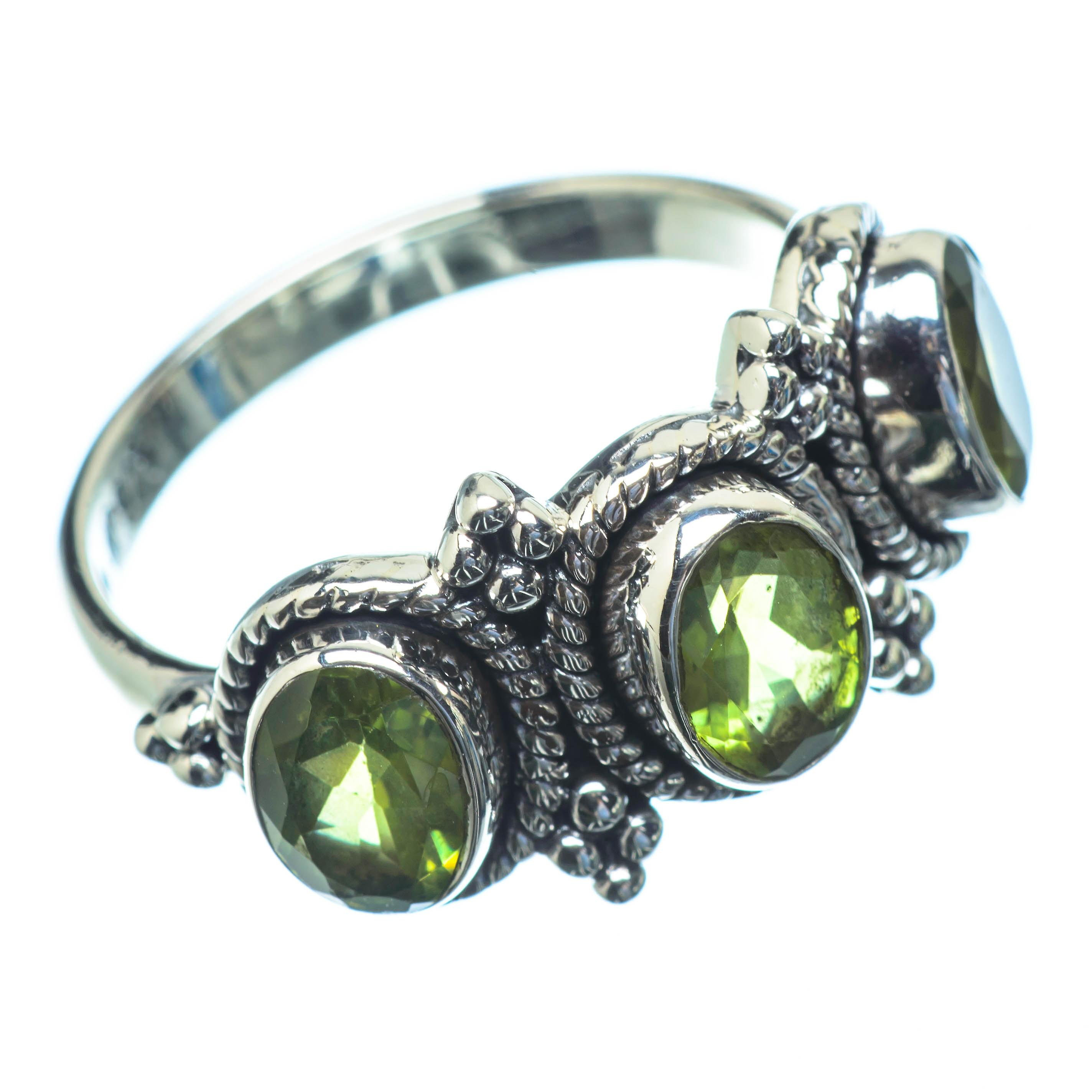 Hochwertige Günstige Fantastisk pris Peridot Ring Size 8.5 (925 Sterling Silver)  - Handmade Boho Vintage Jewelry RING25665 aFxUK