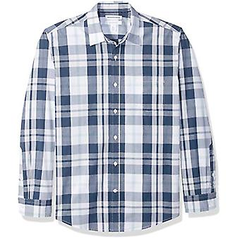 Essentials Menn's Regular-Fit Langermet Casual Poplin Skjorte, Hvit / Marine Stor, Medium