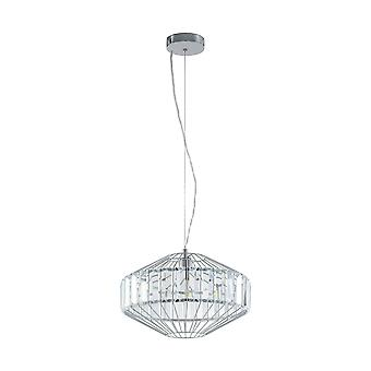 1 Light Ceiling Pendant Polished Chrome with Crystals, E27