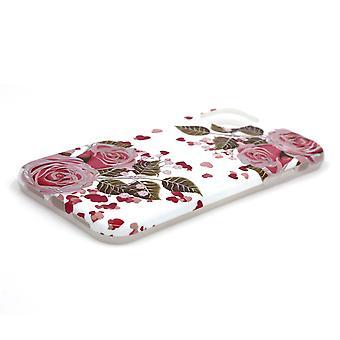 Iskunkestävä mobiilikotelo pidikkeellä, iPhone 11 - Valkoinen kukkia