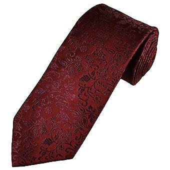 Krawatten Planet Gold Label Burgund selbst Blätter gemusterte Männer's Seide Krawatte