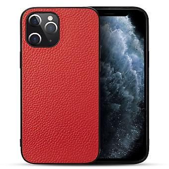 עבור iPhone 12 Pro / 12 מקרה עור אמיתי עמיד רזה בכושר כיסוי מגן אדום