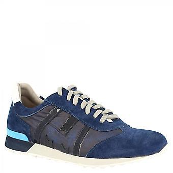 ليوناردو أحذية الرجال & apos;ق جولة اليد الدانتيل متابعة الأحذية الأحذية الرياضية في جلد الغزال الأزرق الفاتح