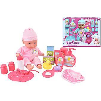 Baby Dukke Sett med Flasker, Tallerkener, Vask & Dukker Tilbehør
