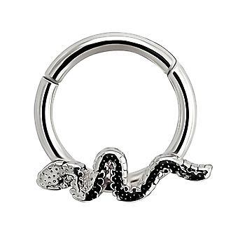 16 Gauge ( 1.2MM ) - 8MM Diameter 316L Surgical Steel Snake Hinged Clicker Segment Nose Ring Septum Piercing Jewellery