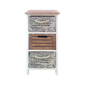 Rebecca Furniture Bedside Table Modern Chest of Drawers 3 Drawers Brown White 64x30x30