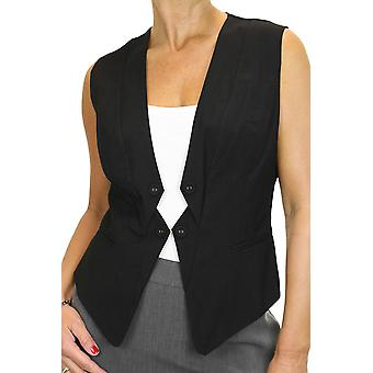 Women's Smart Formal Fully Lined Waistcoat Ladies Slim Clubbing Business Office V Neck Sleeveless Suit Vest Black Size 8