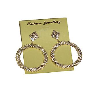 Large Circle Diamante Drop Earrings Round Big Hoop Dangle Party Evening Special Occasions