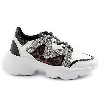 Chunky Sneaker Μανίλα Χάρη Animalier με ασημένια λάμψη