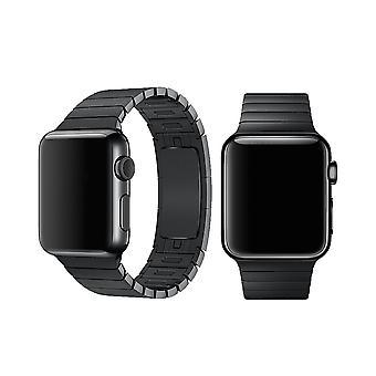 Geschikt voor Apple Watch 42/44MM Metalen Schakel Bandje Zwart
