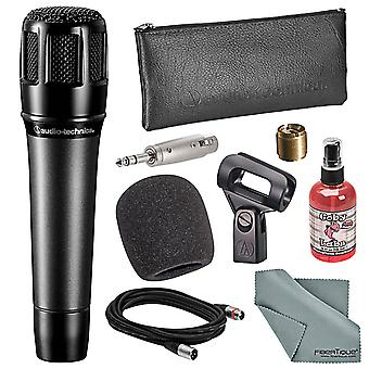 Audio-technica atm650 hypercardioid dynamic instrument microphone bundle with windscreen + mic sanitizer + adapter + xlr cable + fibert