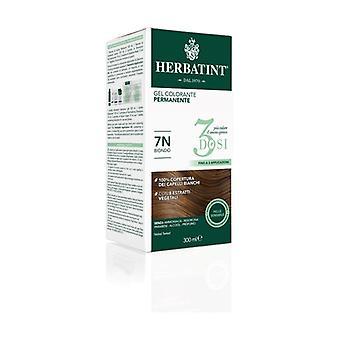 Permanent färg gel hårfärg 3 doser 7N Blond 300 ml