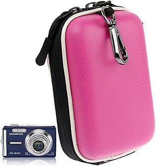 Universal Mini Digital Leather Camera Bag, Size: 130 x 85 x 55mm (Magenta)