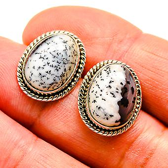 """Dendritic Opal Earrings 3/4"""" (925 Sterling Silver)  - Handmade Boho Vintage Jewelry EARR409143"""