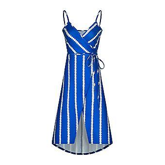 Irregular Women's Dress With A Fashion Printed Striped Halter Strap