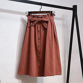 חצאית כותנה אחיד פפיון יחיד לקיץ רזה רטרו חגורה כיס