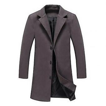 Men Woolen Male Jacket, Winter Solid Color Single-breasted Lapel Longcoat