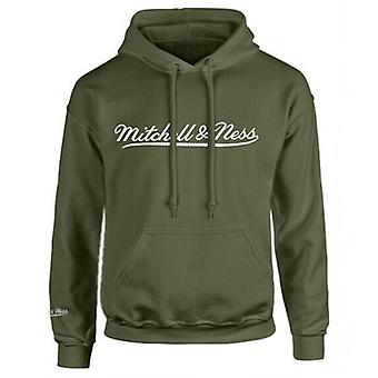 Mitchell & Ness Script Logo Olive Hoodie Herre Hooded Pullover Jumper A40B