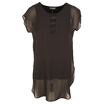 Doris Streich Black Capped Sleeve Chiffon Layered Tunic Style Top With Neck Detail