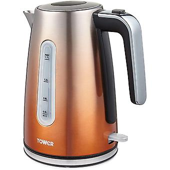 Tower T10046COP Kettle with Open Handle, Ombre Collection, 1.7L Capacity, 3KW, Copper, Steel