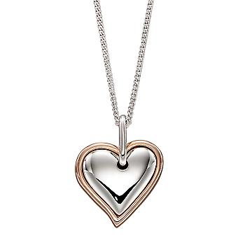 Fiorelli Silver Womens 925 Sterling Silver Rhodium & Rose Gold Plated Double Heart Necklace 41cm + 5cm