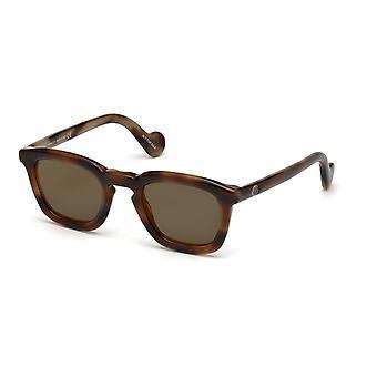 Moncler ML 0006 52G Gafas de sol de espejo oscuro de La Habana/Marrón