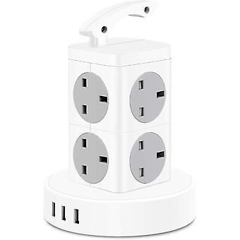 Tower Extension Lead,13amp 8-Socket Surge Protector Multi Plug Power Strip