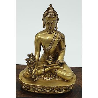 Cast Bronze Medicine Buddha Statue With Covered Base