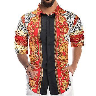 メン&アポスのプリント長袖カラーブロックシャツ
