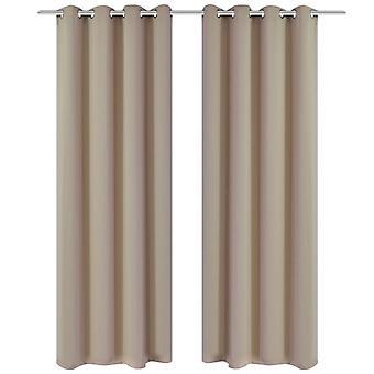 vidaXL Verduisterende gordijnen 2 stuks. met metalen losraken 135 x 175 cm crème
