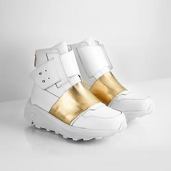 Handcrafted High-top Sneakers - White Leather With Elastic Gold Band