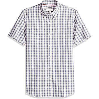 Goodthreads الرجال & apos;ق سليم صالح قصيرة الأكمام قصيرة الحجم قميص منقوشة, الأزرق / أكوا, كبيرة