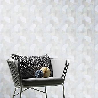 Elle Decoration 3D Geometric Graphic Wallpaper Light Grey Silver 1015531
