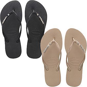 Havaianas Mujeres Slim Metal & Crystal Logo Summer Beach Sandalias Thongs Flip Flops