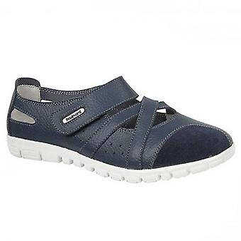 Boulevard Lucky Ladies Leather Wide Fit Shoes Navy