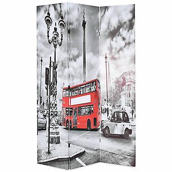 vidaXL غرفة مقسم قابل للطي 120 × 170 سم لندن حافلة بالأبيض والأسود