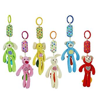 6pcs Cartoon Animals Rattling Doll Cute Baby Hanging Toys With Chime Sound Paper For Children Soft Plush Rattle Toys