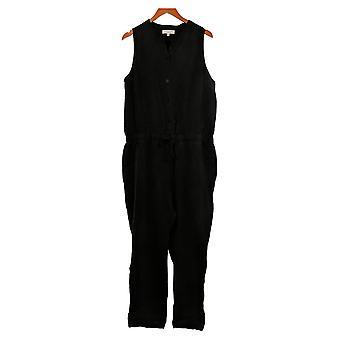 Side Stitch Jumpsuits Large Sleeveless w/ Tie Waist One-Piece Black A375127