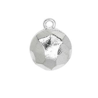 سحر معدني، شقة الظهر الأوجه دائرة 13mm، الفضة الساطعة، 1 قطعة، من تصميم نون