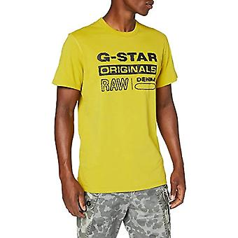 G-STAR RAW Wavy Logo Originals T-Shirt, Sulfur Green B353-5164, X-Small Man