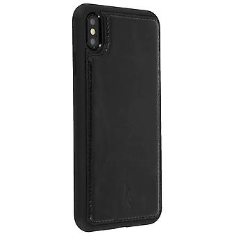 Akashi leather hard case for Apple iPhone XS Max, rear cover – black