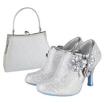 Ruby Shoo Electra Vit Silver Brocade Jewelled Bootie & Matchande Toulouse Väska