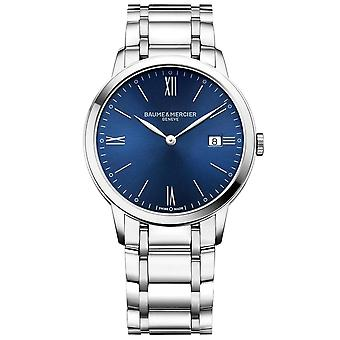 Baume & Mercier M0a10382 Classima Date Blue & Silver Stainless Steel Mens Watch