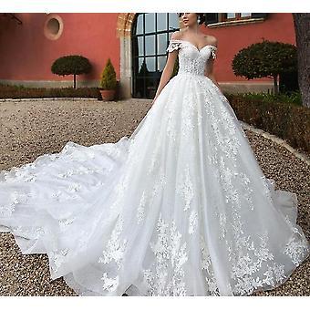 Pärlkärlek Älskling KepsÄrm Princess Appliques Lace Up Bride Robe