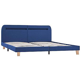 vidaXL bedframe met LED blauwe stof 180x200 cm