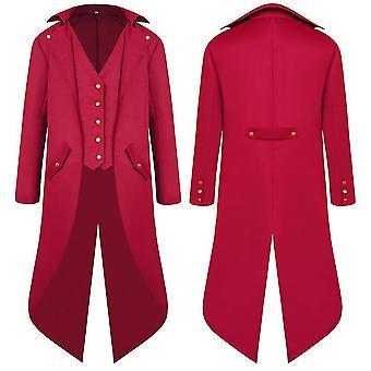 Rouge 3xl hommes moyen âge ancien manteau queue longue robe tailcoat cai1100