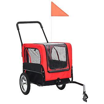 vidaXL 2-in-1 -eläinpyöräperävaunut ja lenkkeilijät punainen ja musta